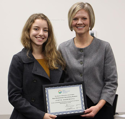 "NWSS student Iveta Demirova won one of the most prestigious biotechnology competitions in Canada – the Sanofi Biogenius Canada competition. School Board chair Jonina Campbell congratulates her in October, 2016. as an ""inspiration for your school and for the district, and what you have accomplished is truly remarkable,"" New Westminster School Board Chair Jonina Campbell said"