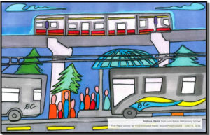 Joshua David of Lord Kelvin Elementary School won the Environmental Poster Award in 2010. His image is included in the City of New Westminster's Master Transportation Plan.