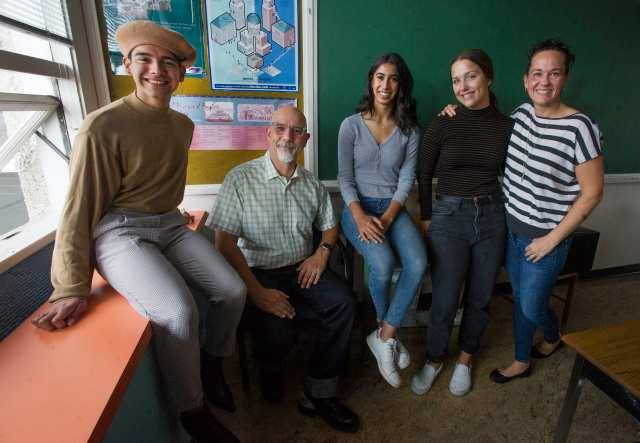 In the news: New Westminster Secondary School grad 12 students Gustavo Magan Campos, Sonia Sarai and Alia Homenuke with social studies teachers Stacey Robinsmith and Stacy Brine. Photo: Jason Payne/Postmedia